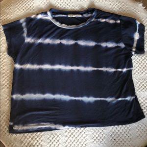 L.A. Hearts blue navy & white tie dye crop top EUC